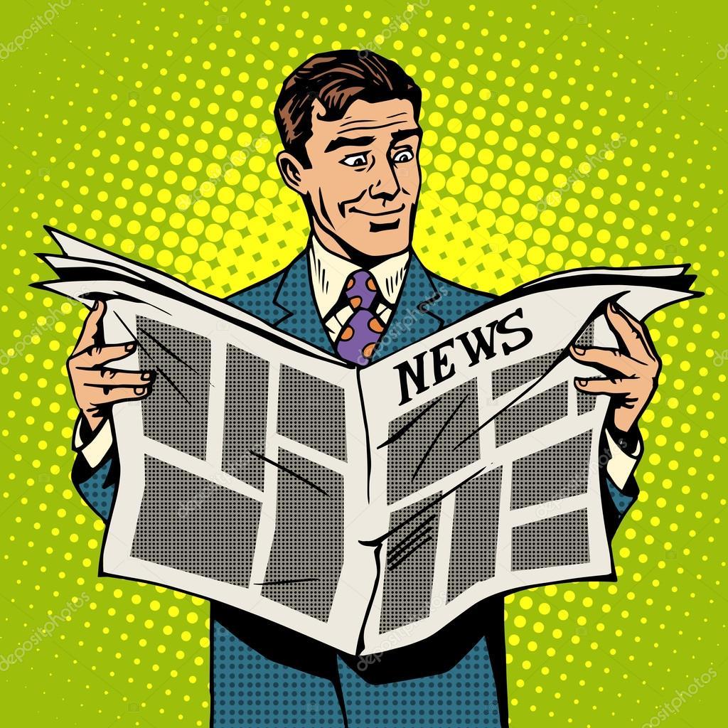 ニュース新聞を読む男性ビジネス...
