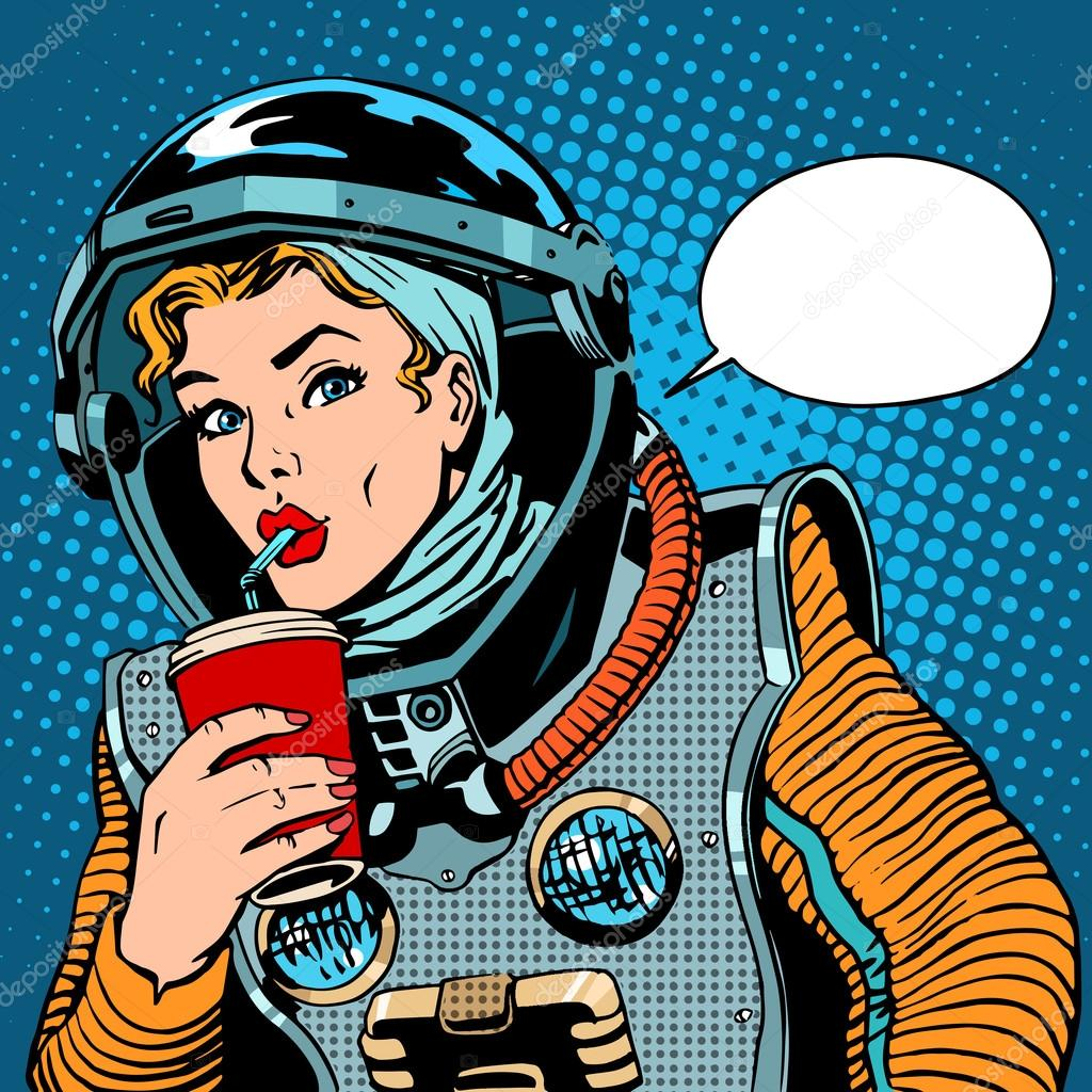 Female astronaut drinking soda