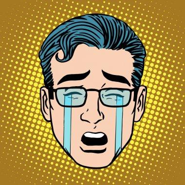 Emoji crying sadness man face icon symbol