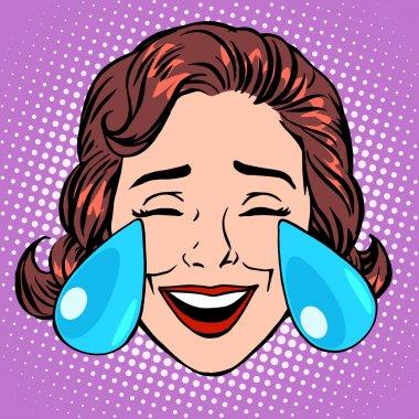 Retro Emoji tears of joy woman face