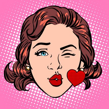 Retro Emoji love kiss heart woman face