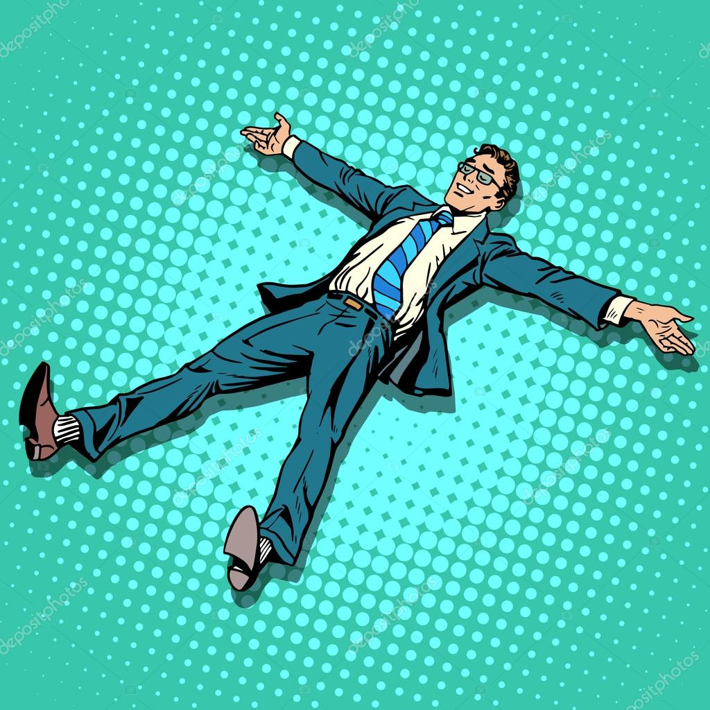 The businessman is resting with outstretched arms and legs
