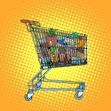 Grocery cart with food