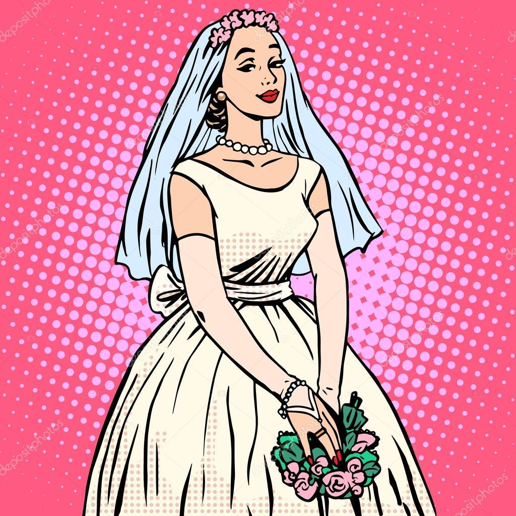 Vestido de novia en blanco de novia estilo retro pop art — Archivo ...