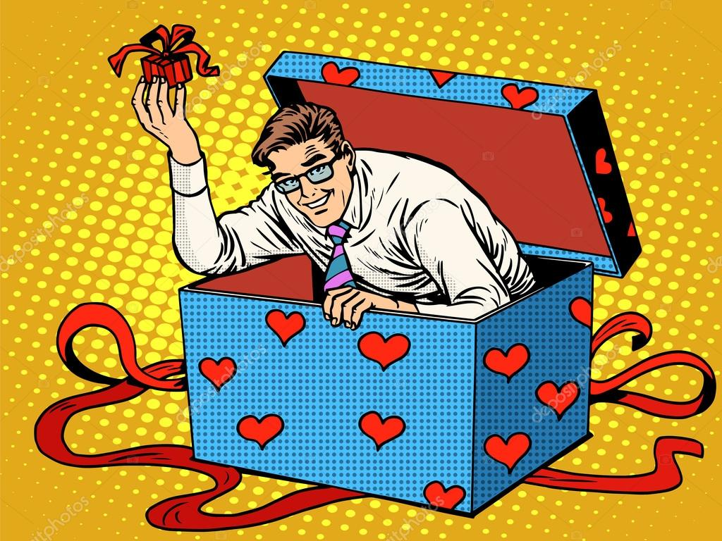 Man Valentine Day Surprise Box Love Gift Stock Vector