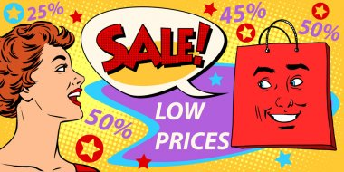Sales discounts poster style girl and products