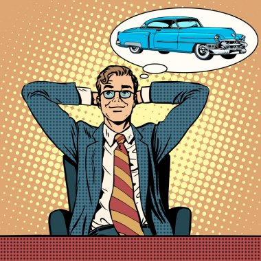 Businessman dreaming about a car pop art retro style. Mens dreams clip art vector