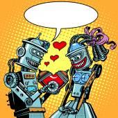 Fényképek Robotok ember nő szerelem, Valentin-nap, és esküvő