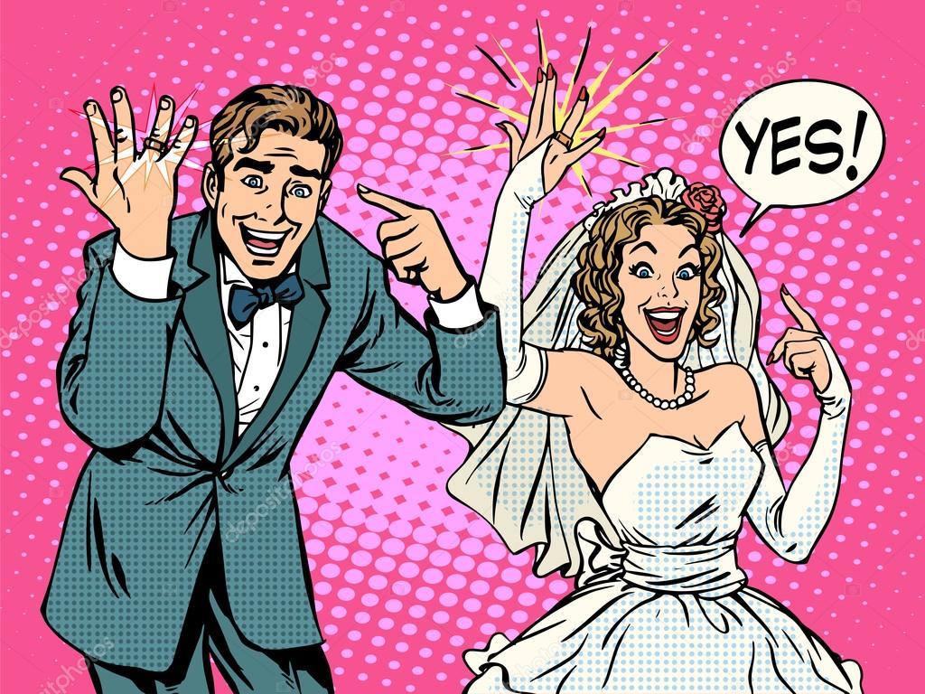 Feliz novia y el novio con anillos de boda — Archivo Imágenes ...