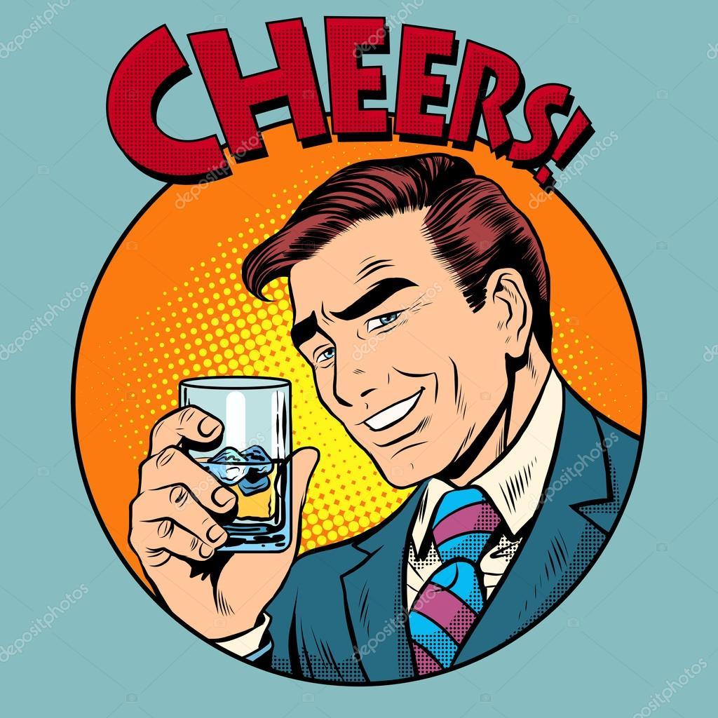 Cheers Toast Viering Man Popart Retro Stijl Stockvector
