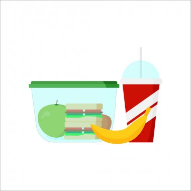 Lunch box. Fruits and vegetables for children dinner lunch drink and food vector. Illustration of R with lunch, a sandwich juice. icon
