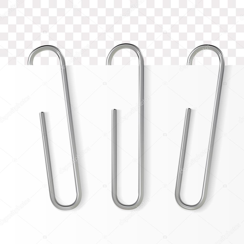 realistic paper clip. metallic fastener on transparent background