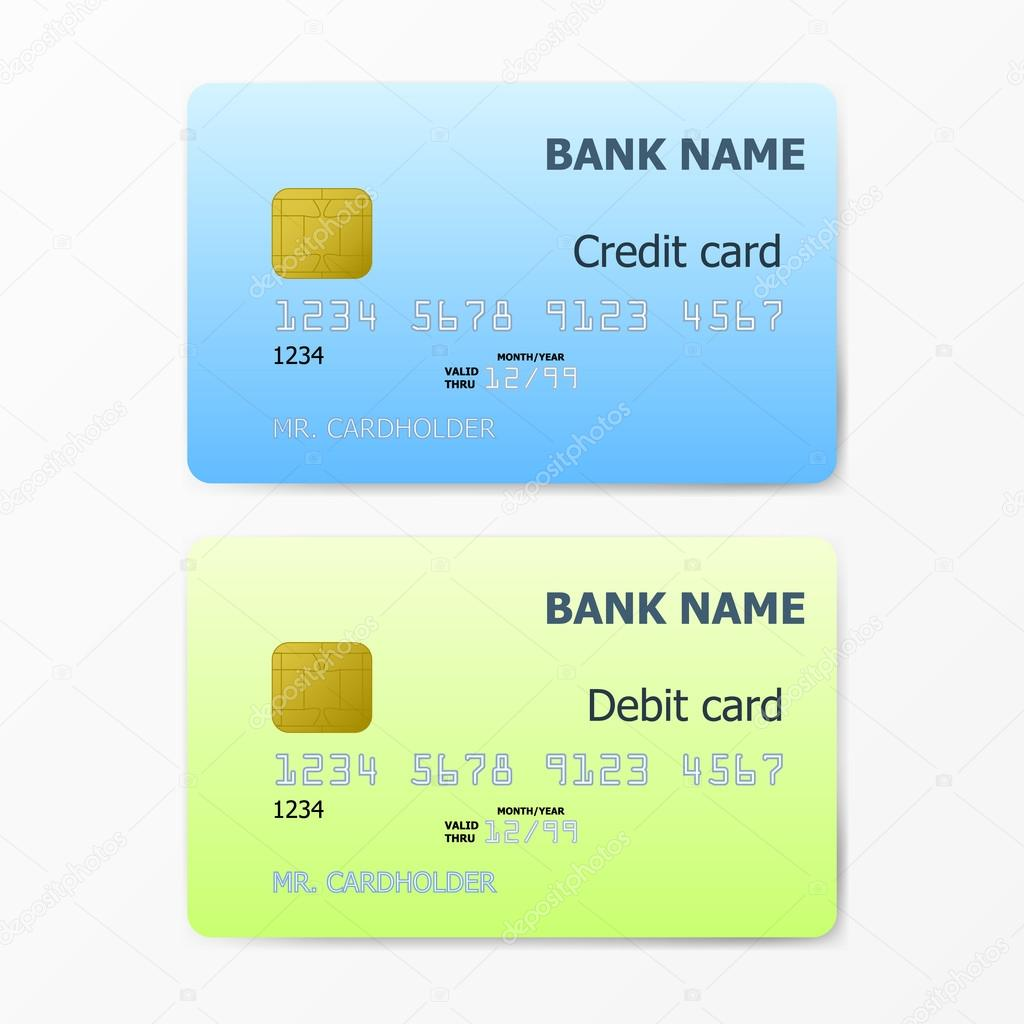 Kredit- und EC-Karte-Vorlage auf weißem Hintergrund — Stockvektor ...
