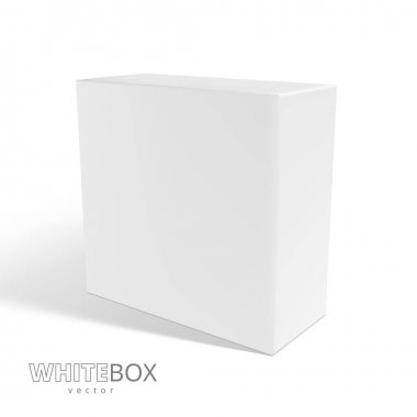 3D White Box With Shadow Isolated On Background. EPS10 Vector icon