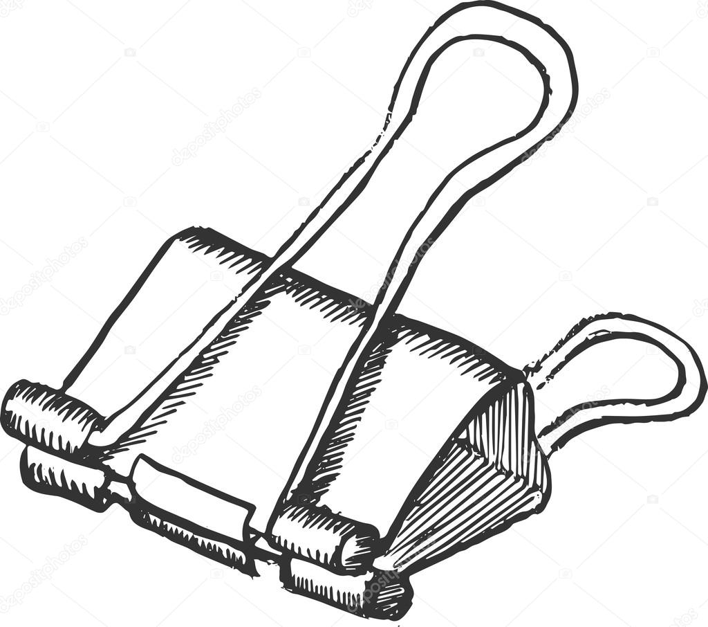 Hand Drawn Doodle Style Vector Binder Clip