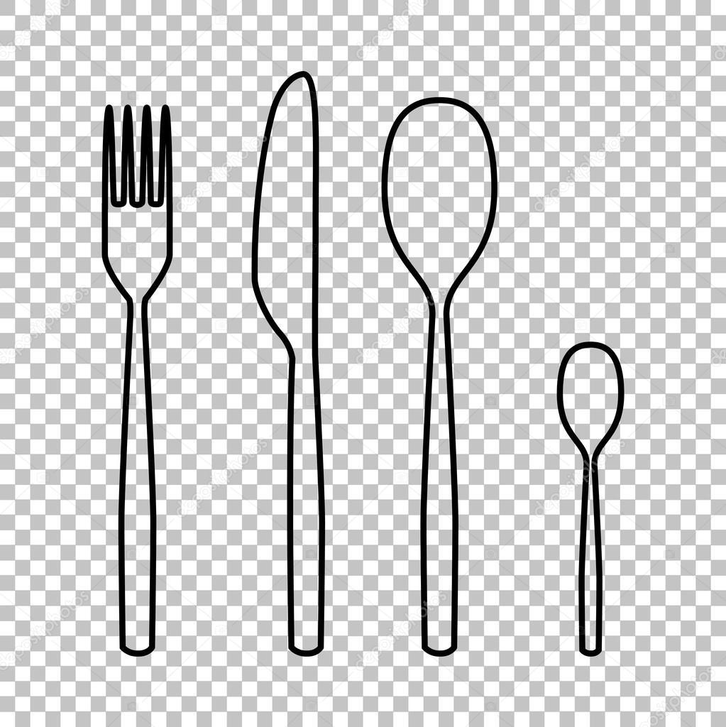 Line Drawing Knife And Fork : ícone do garfo colher faca linha vector — vetores de stock