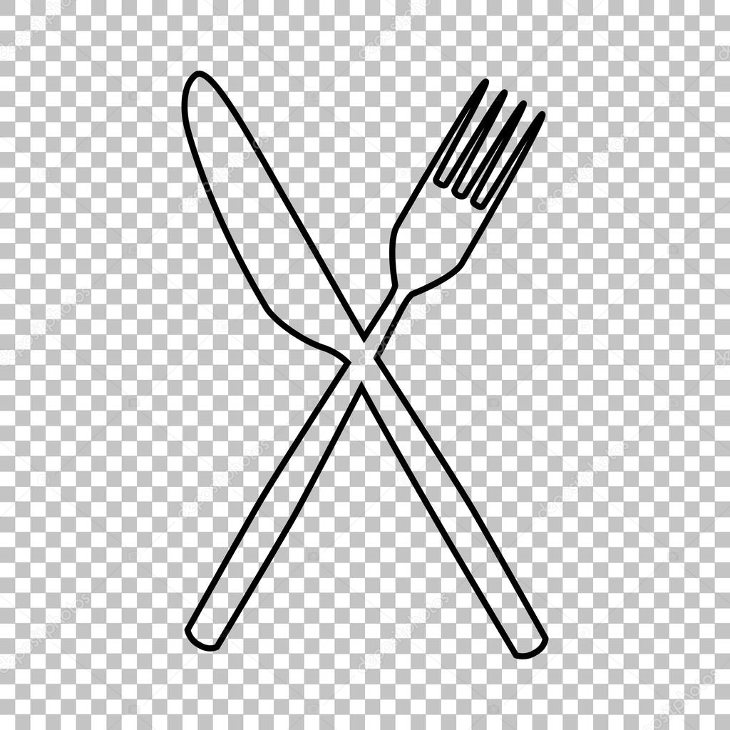 fork and knife line vector icon � stock vector