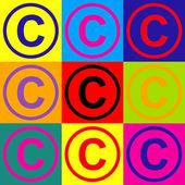 Copyright jel. Pop-art stílusban ikonok beállítása