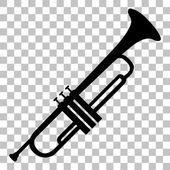 Hudební nástroj trubka znamení. Plochý černý ikona na průhledné pozadí.