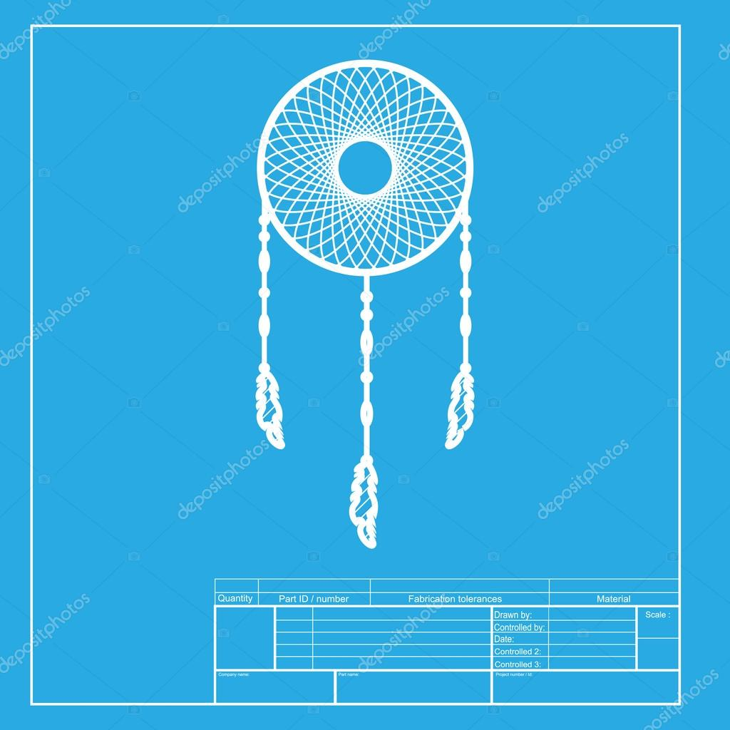 Dream catcher sign white section of icon on blueprint template dream catcher sign white section of icon on blueprint template stock vector malvernweather Images