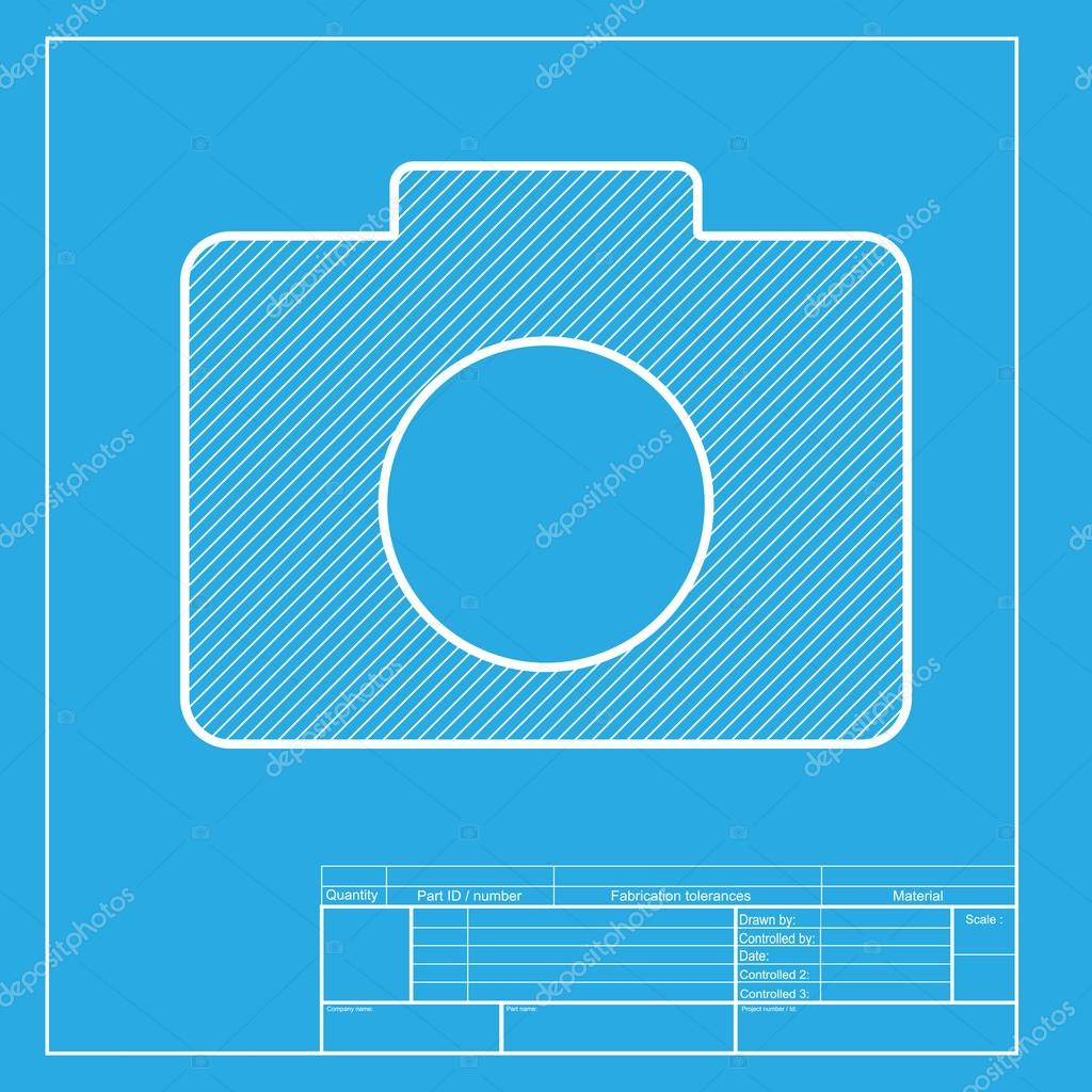 Digital camera sign white section of icon on blueprint template digital camera sign white section of icon on blueprint template stock vector malvernweather Choice Image