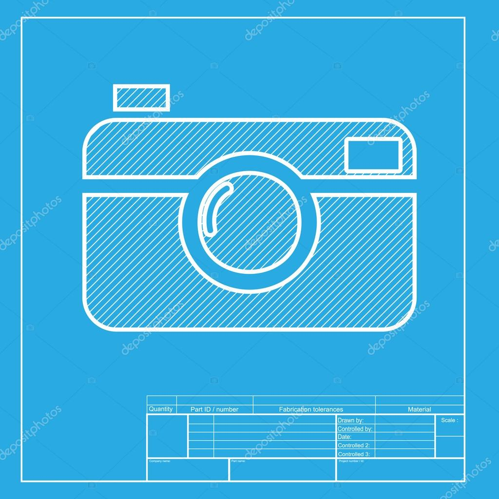 Digital photo camera sign white section of icon on blueprint digital photo camera sign white section of icon on blueprint template stock vector malvernweather Choice Image
