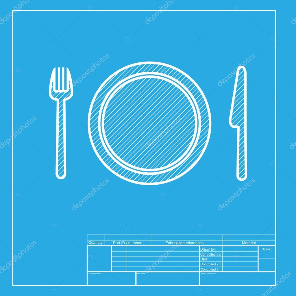 Fork plate and knife white section of icon on blueprint template white section of icon on blueprint template archivo malvernweather Image collections