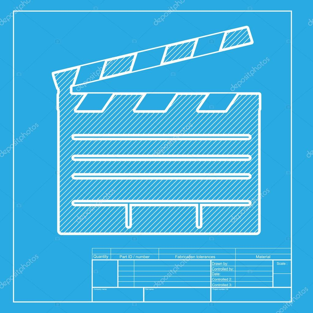 Film clap board cinema sign white section of icon on blueprint film clap board cinema sign white section of icon on blueprint template stock malvernweather Image collections