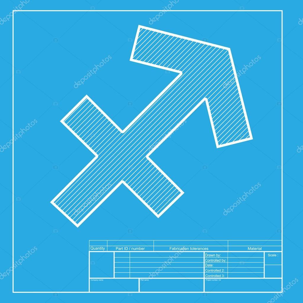 Sagittarius Sign Illustration White Section Of Icon On Blueprint