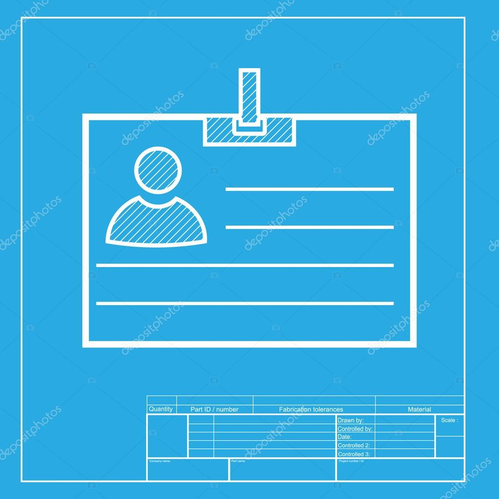 Id card sign white section of icon on blueprint template stock white section of icon on blueprint template stock vector malvernweather Choice Image