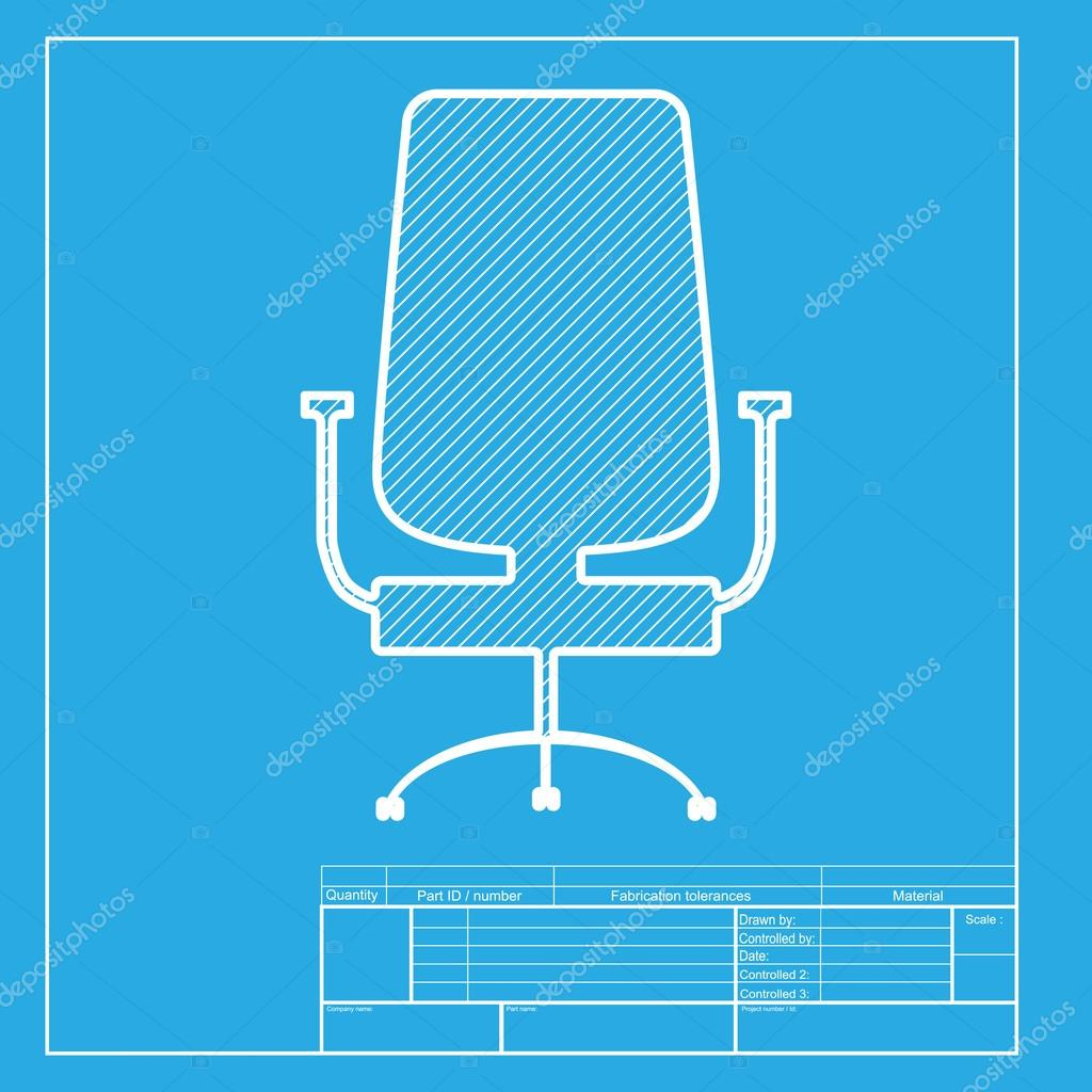 office chair sign white section of icon on blueprint template