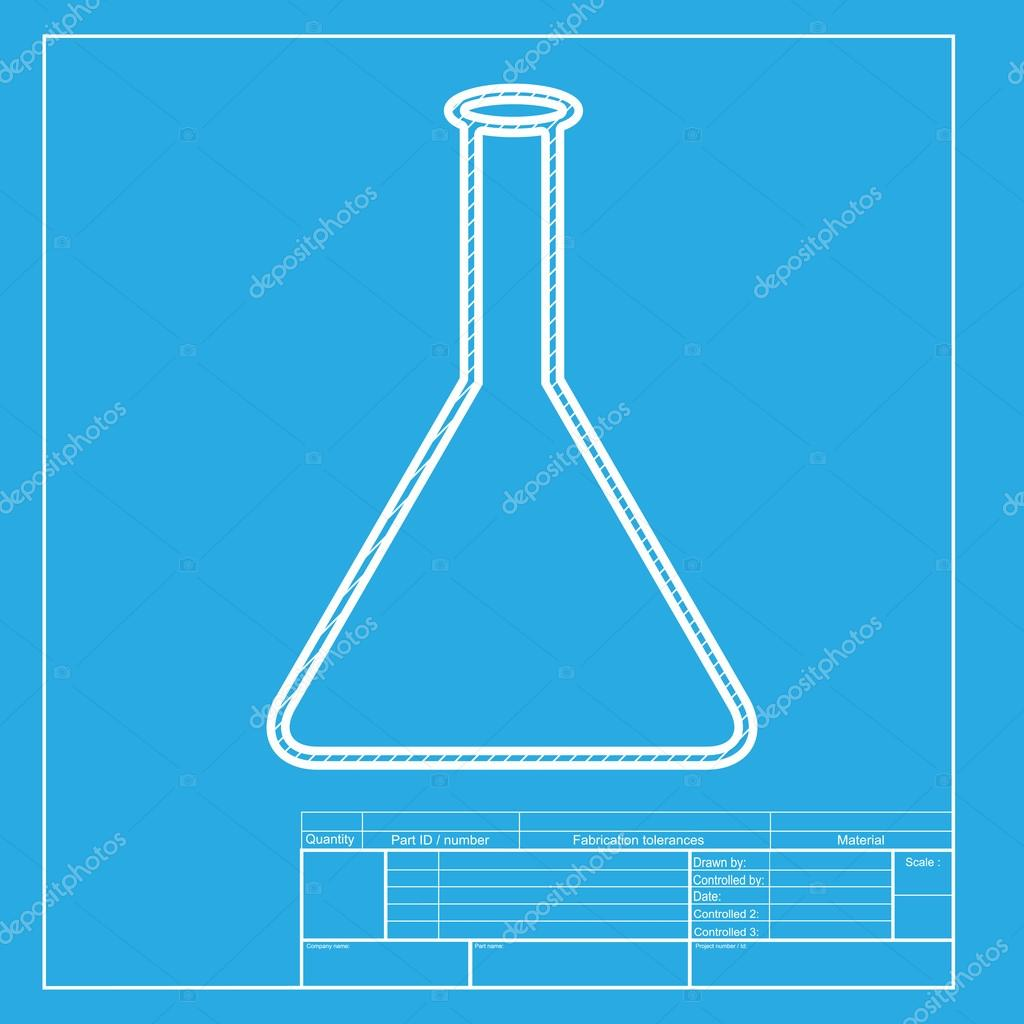 Conical flask sign white section of icon on blueprint template conical flask sign white section of icon on blueprint template vector de asmati1702gmail malvernweather Choice Image