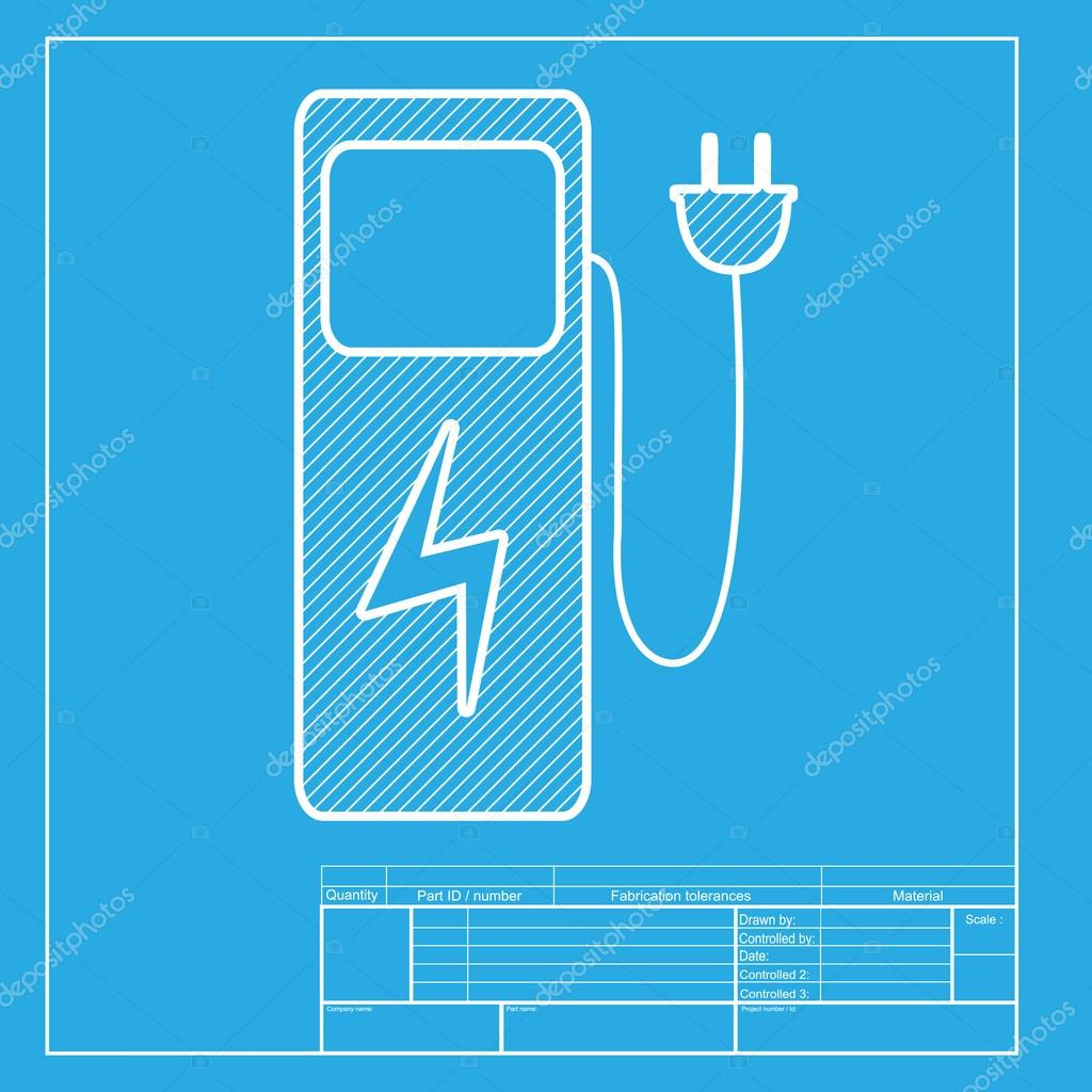 electric car charging station sign white section of icon on