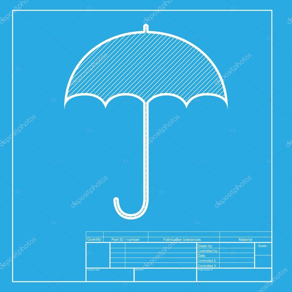 Umbrella sign icon rain protection symbol flat design style white umbrella sign icon rain protection symbol flat design style white section of icon on blueprint template vector de asmati1702gmail malvernweather Image collections