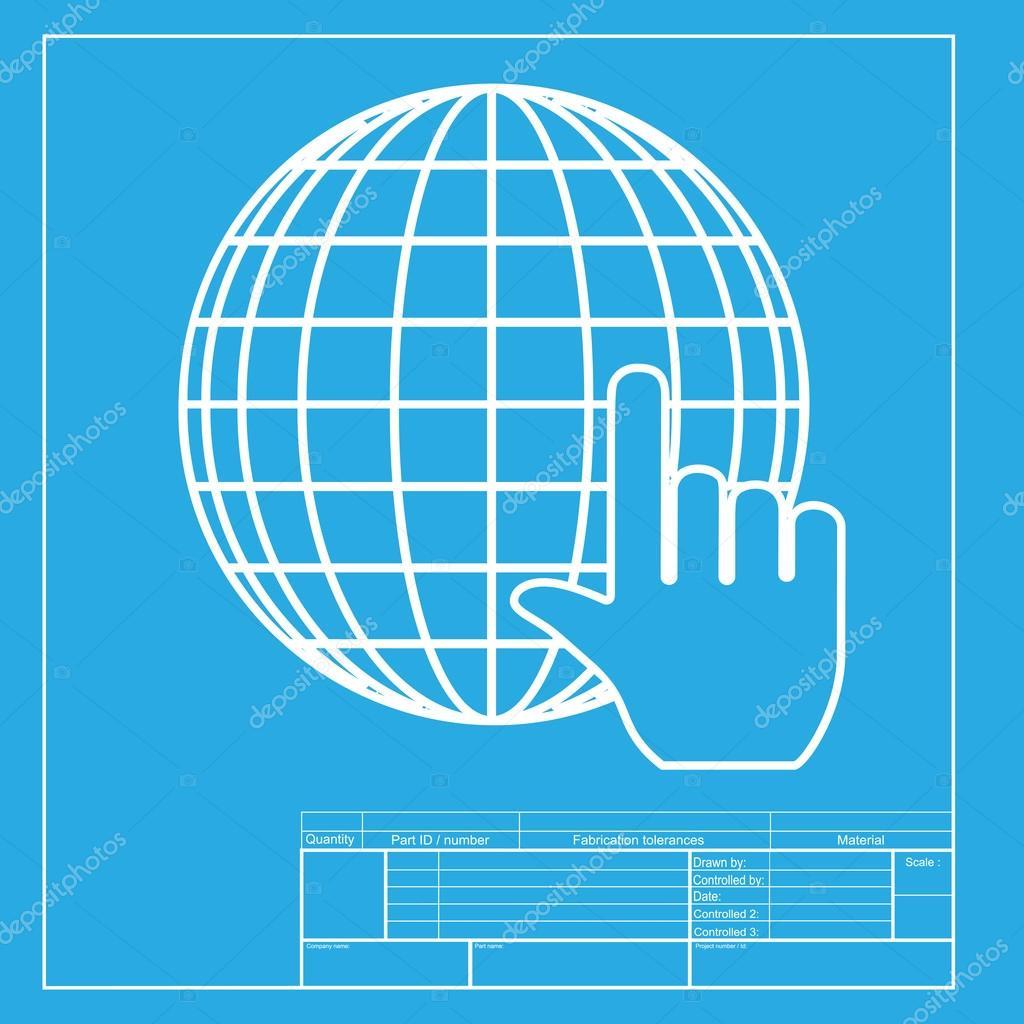 Globo de tierra con cursor blanca seccin de icono de la plantilla blanca seccin de icono de la plantilla de blueprint malvernweather Choice Image