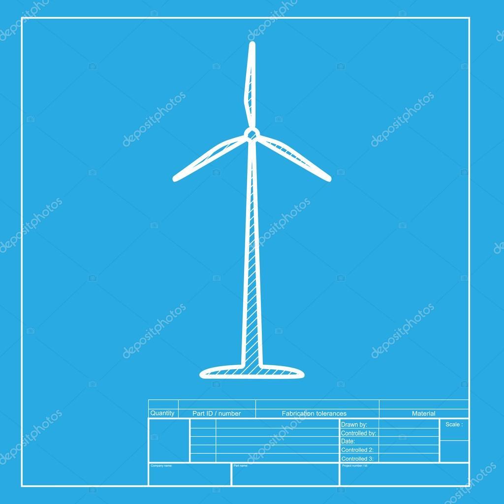 風タービンのロゴや記号です 白い部青写真テンプレートのアイコン
