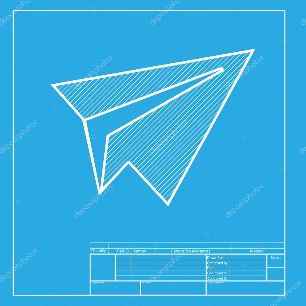 Paper airplane sign white section of icon on blueprint template paper airplane sign white section of icon on blueprint template stock vector malvernweather Choice Image