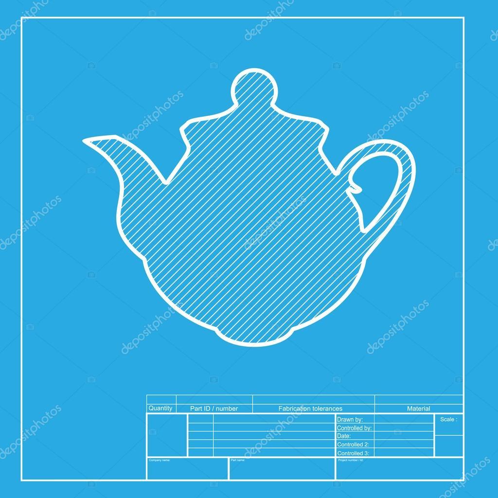Signo cocina menaje para preparar té. Blanca sección de icono de la ...