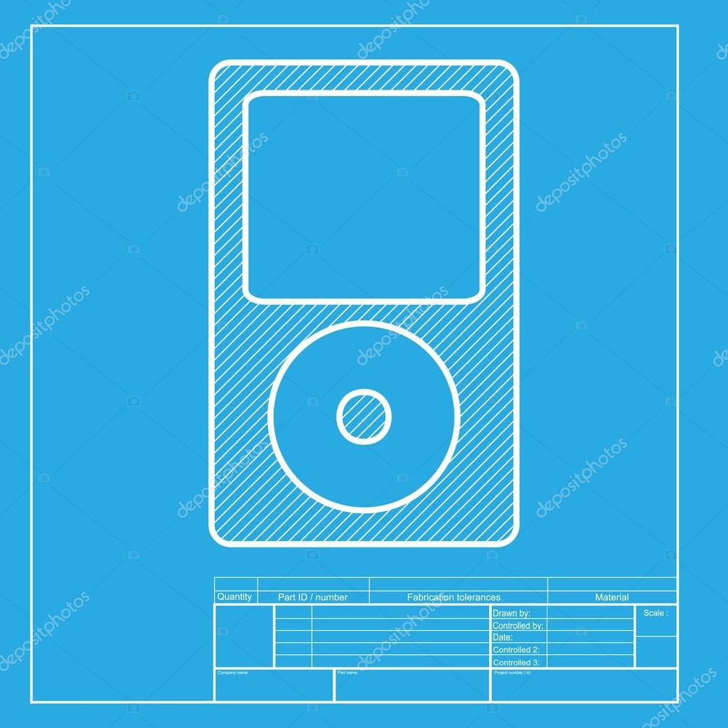 Portable music device white section of icon on blueprint template white section of icon on blueprint template stock vector malvernweather Choice Image