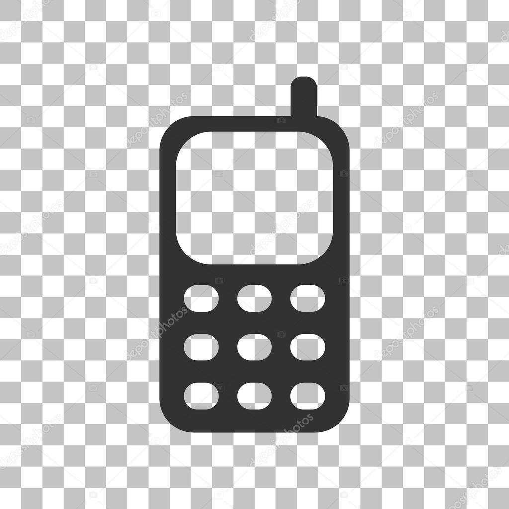 Segno Del Telefono Cellulare Icona Grigia Scura Su Sfondo