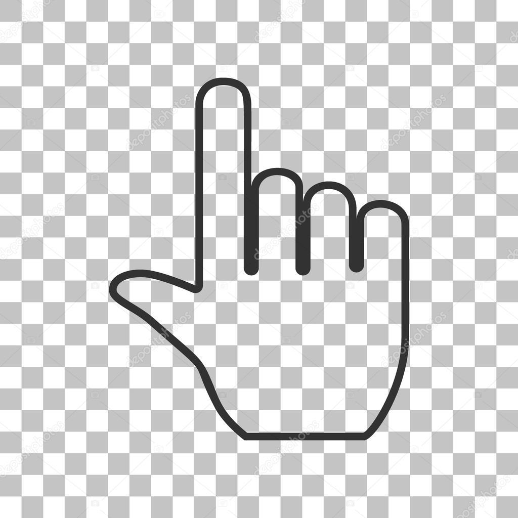 手サイン イラスト。透明な背景に暗い灰色のアイコン — ストックベクター