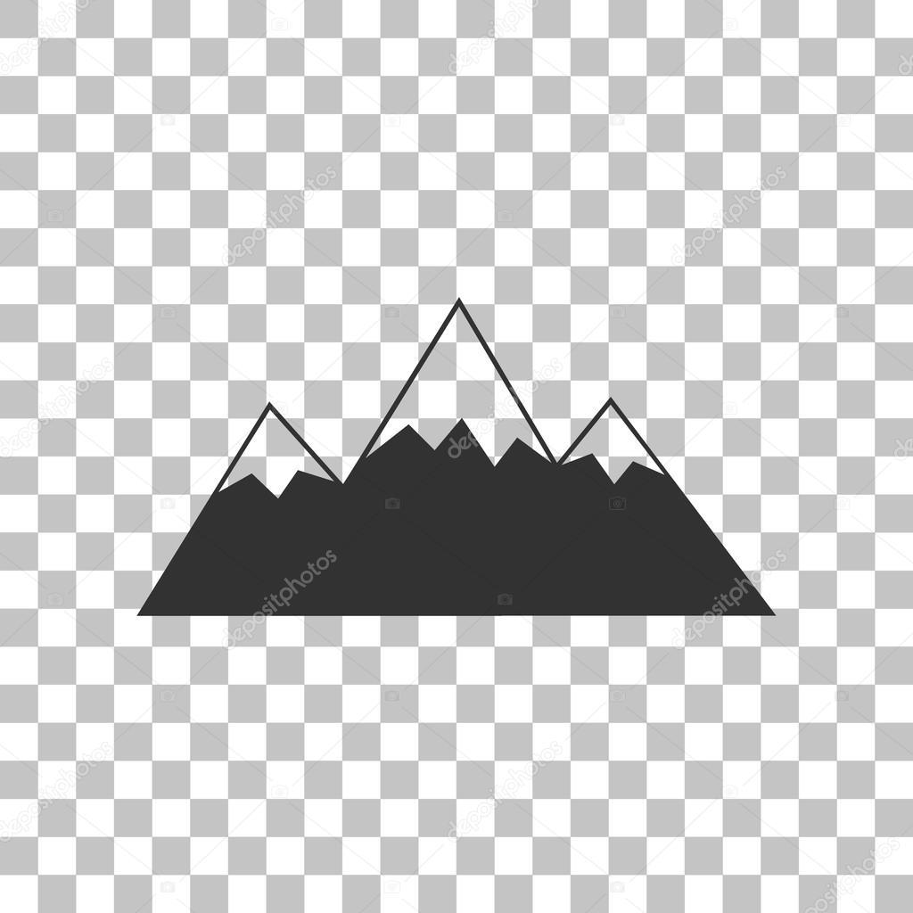 山サイン イラスト。透明な背景に暗い灰色のアイコン — ストックベクター