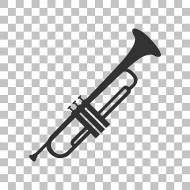 Musical instrument Trumpet sign. Dark gray icon on transparent background.