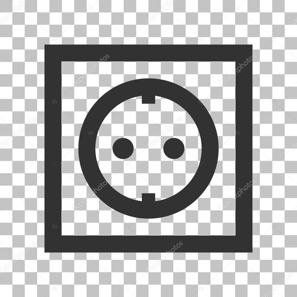 Steckdose-Zeichen. Dunkel graue Symbol auf transparenten Hintergrund ...