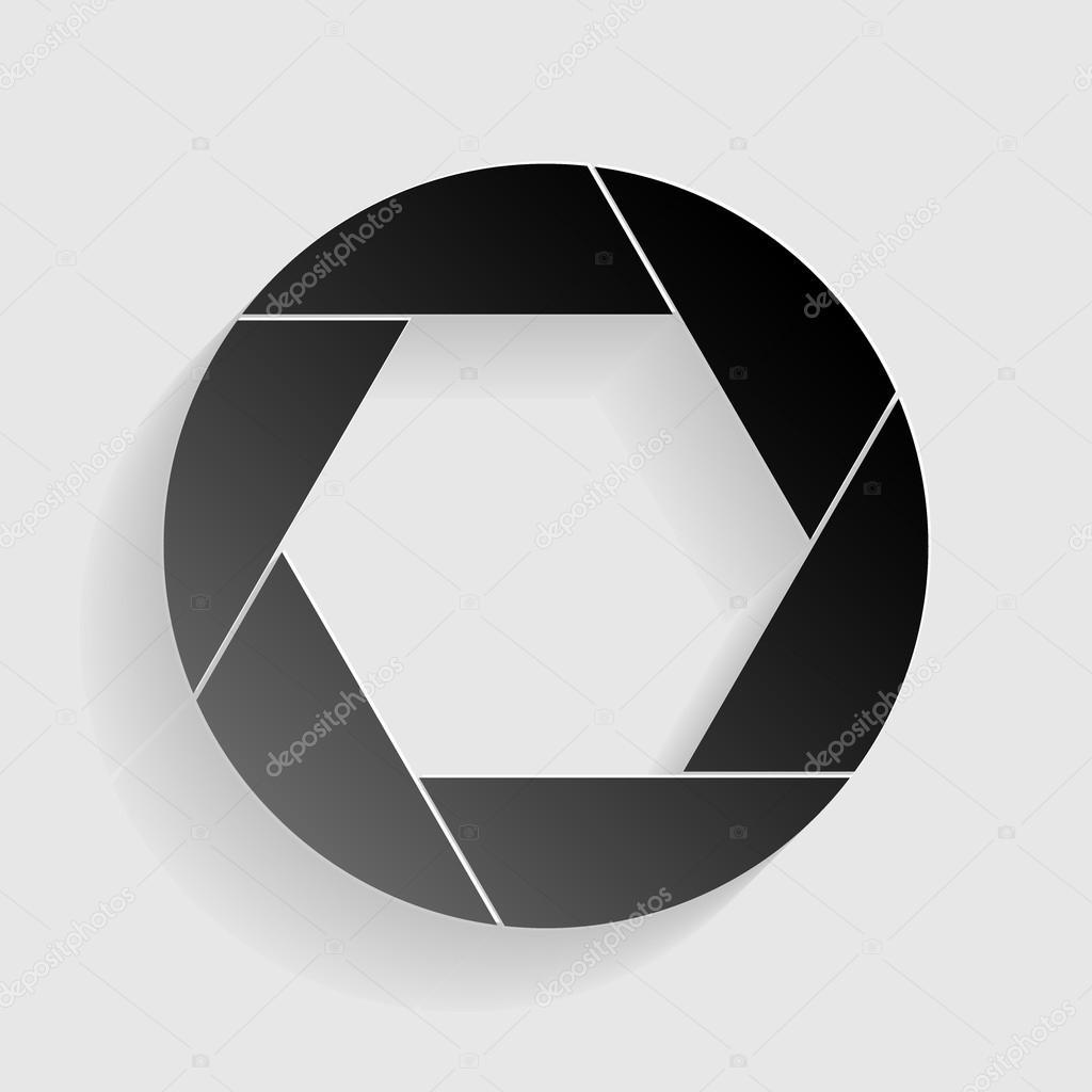 Foto-Zeichen-Illustration. Schwarzes Papier mit Schatten auf grauem ...