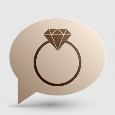 Diamond sign illustration. Brown gradient icon on bubble with shadow.