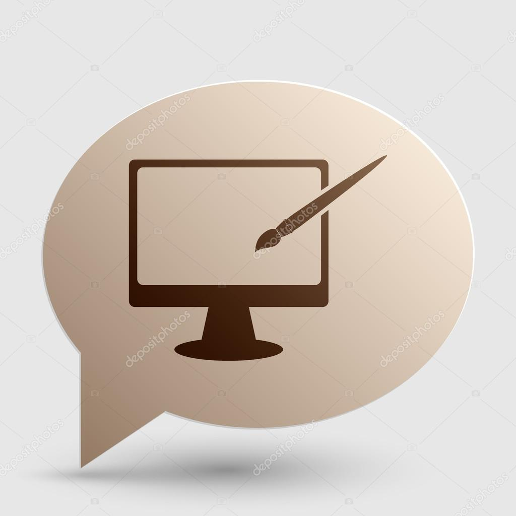 Monitor with brush sign  Brown gradient icon on bubble with