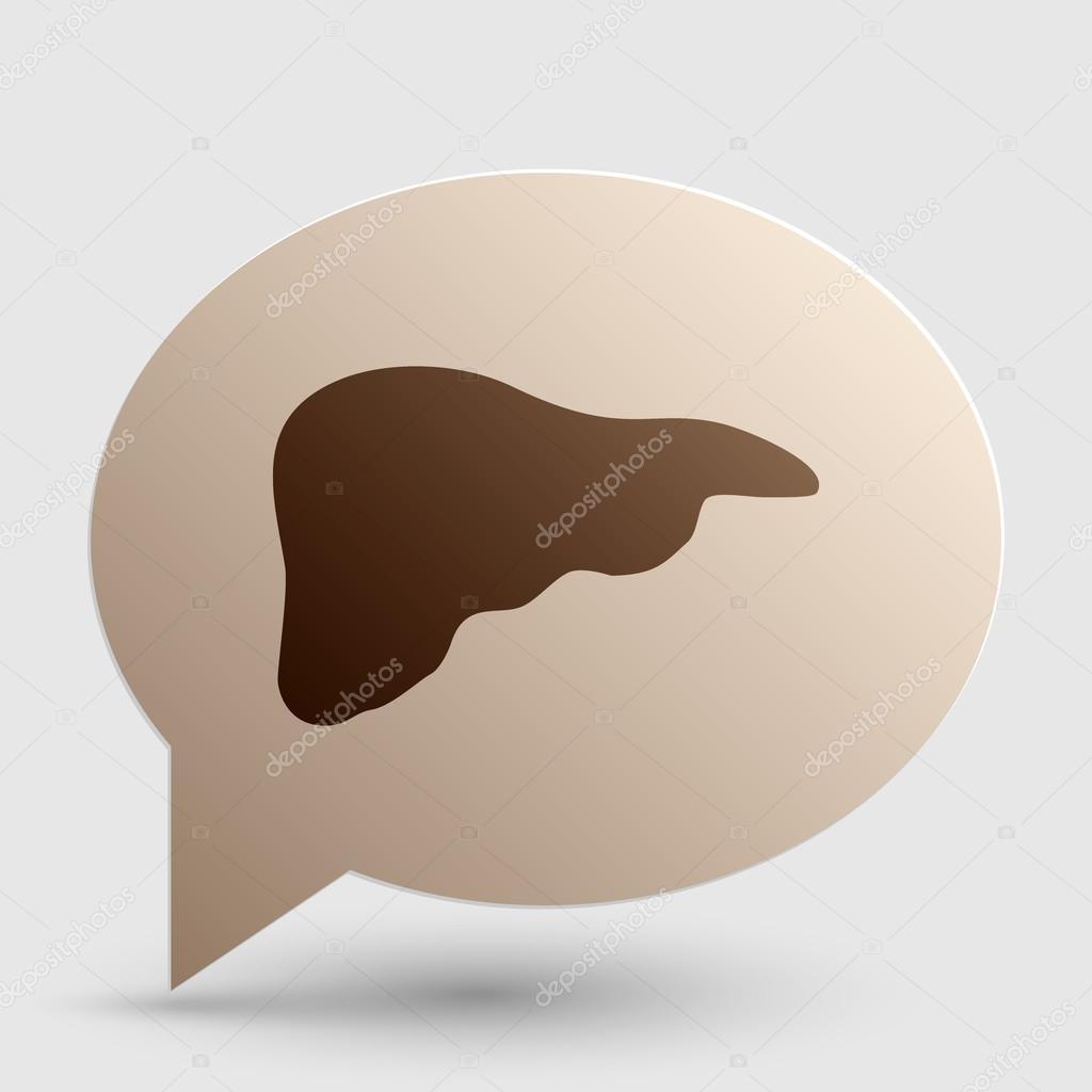 Human anatomy illustration. Liver sign. Brown gradient icon on ...