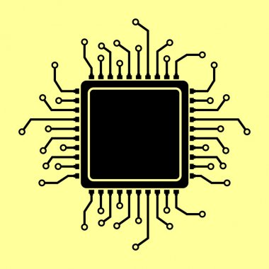 CPU Microprocessor. Flat style chip icon