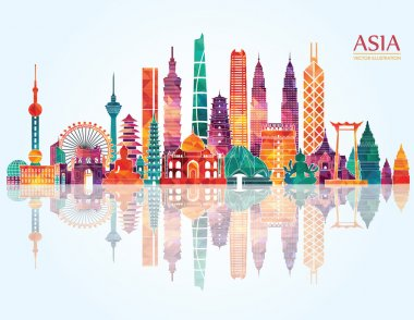 Asia detailed panorama vector travel illustration stock vector